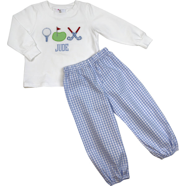 Blue Windowpane Golf Pant Set