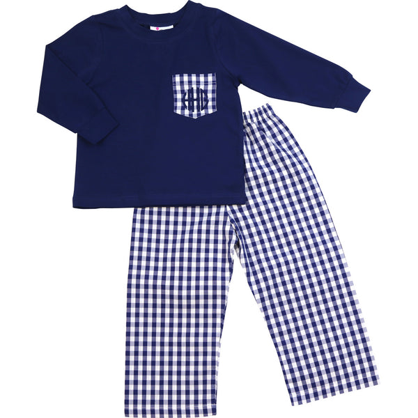 Navy Check Pocket Pant Set