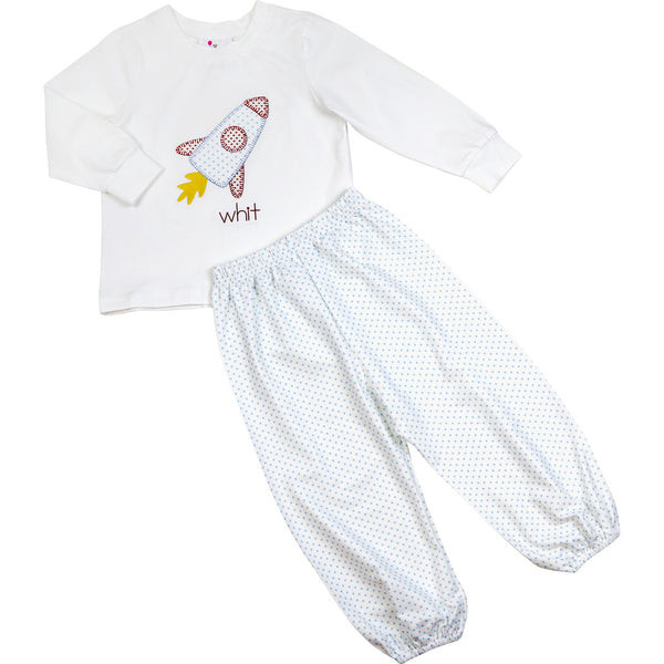Blue Knit Dot Rocket Ship Pant Set