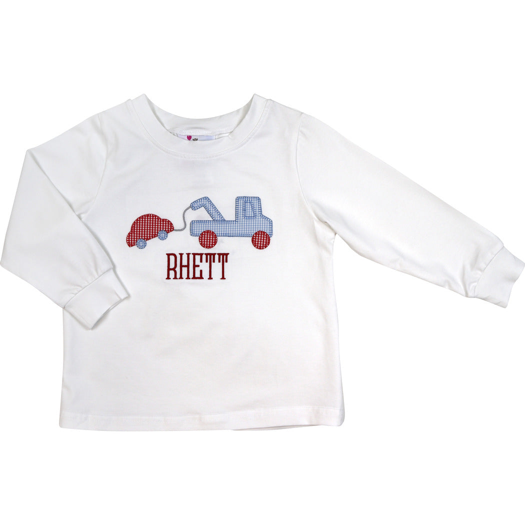 White Knit Towing Truck Shirt