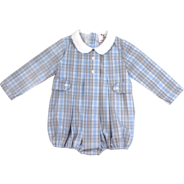 Blue and Grey Plaid Side Tabs Boys Bubble