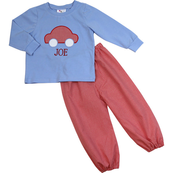 Blue Knit and Red Gingham Car Pant Set