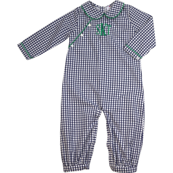 Navy Windowpane Green Trim Long Romper