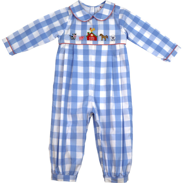 Blue Check Farm Long Romper