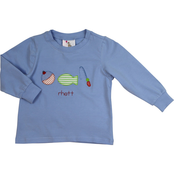 Blue Knit Fishing Shirt