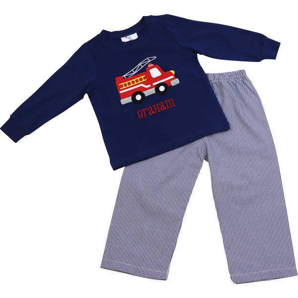 Navy Gingham Firetruck Pant Set