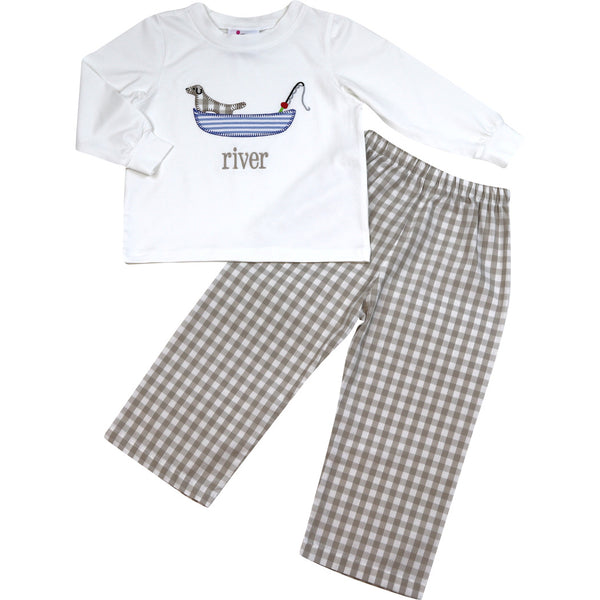 Khaki Check Dog on Boat Pant Set