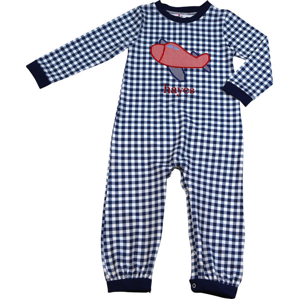 Navy Check Airplane Long Romper