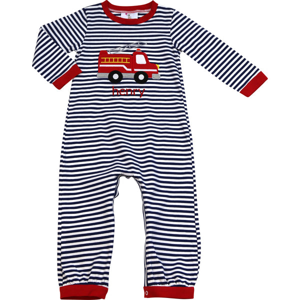 Navy Stripe Firetruck Long Romper