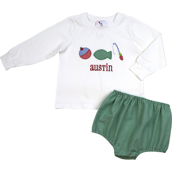 White Knit Green Gingham Fishing Diaper Set