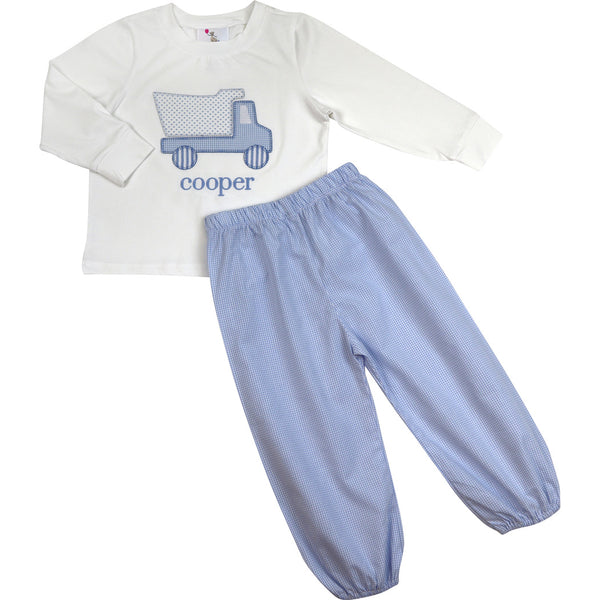 Blue Gingham Dump Truck Pant Set