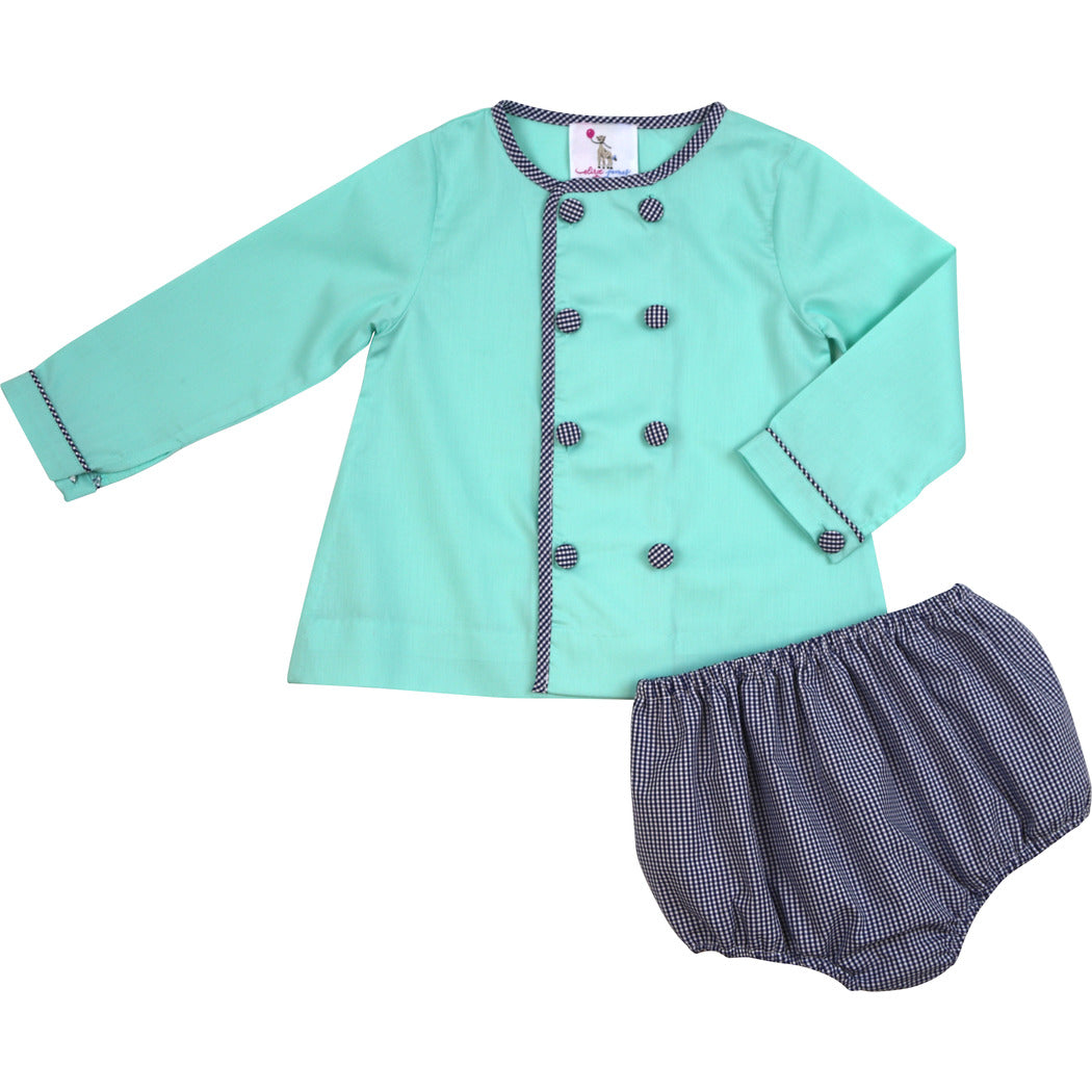 Mint and Navy Windowpane Double Breasted Diaper Set