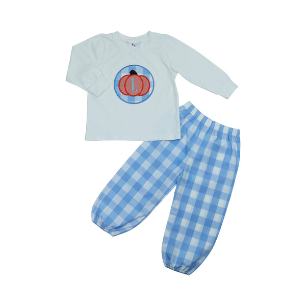 Blue Check Applique Pumpkin Pant Set