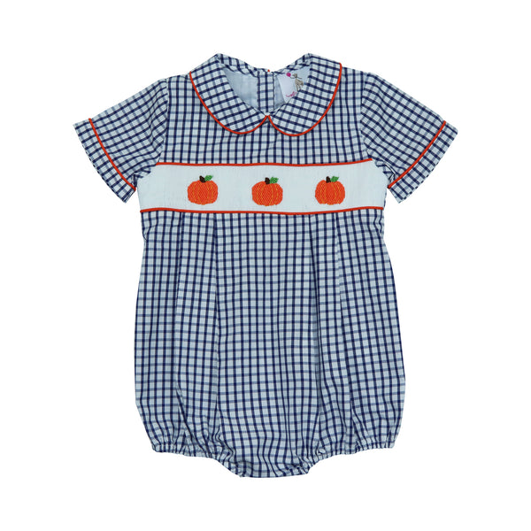 Navy Windowpane Smocked Pumpkin Bubble