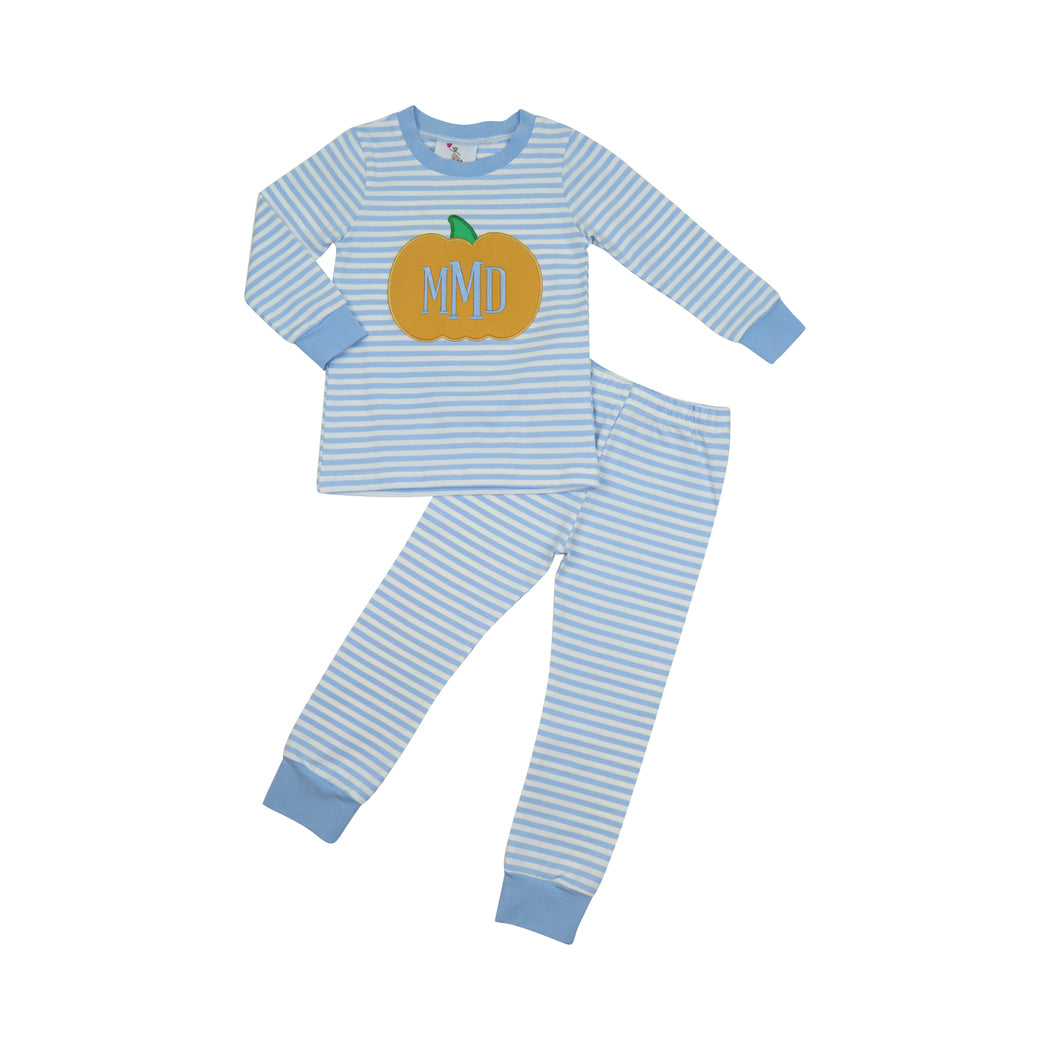 Blue Stripe Applique Pumpkin Pajamas