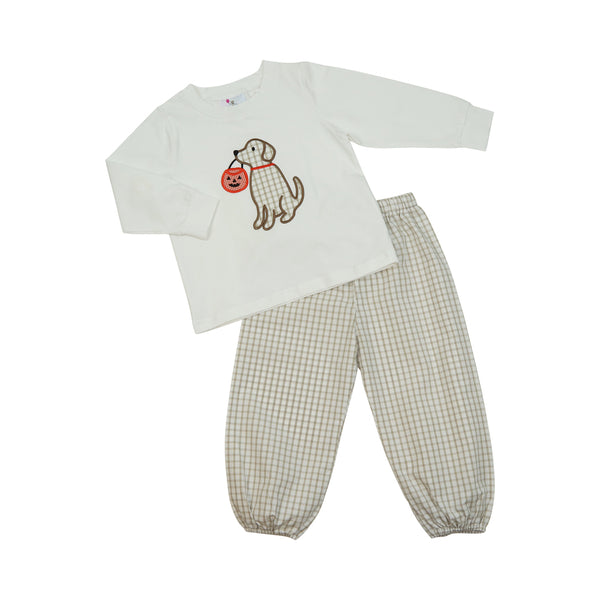 Khaki Windowpane Lab with Basket Pant Set