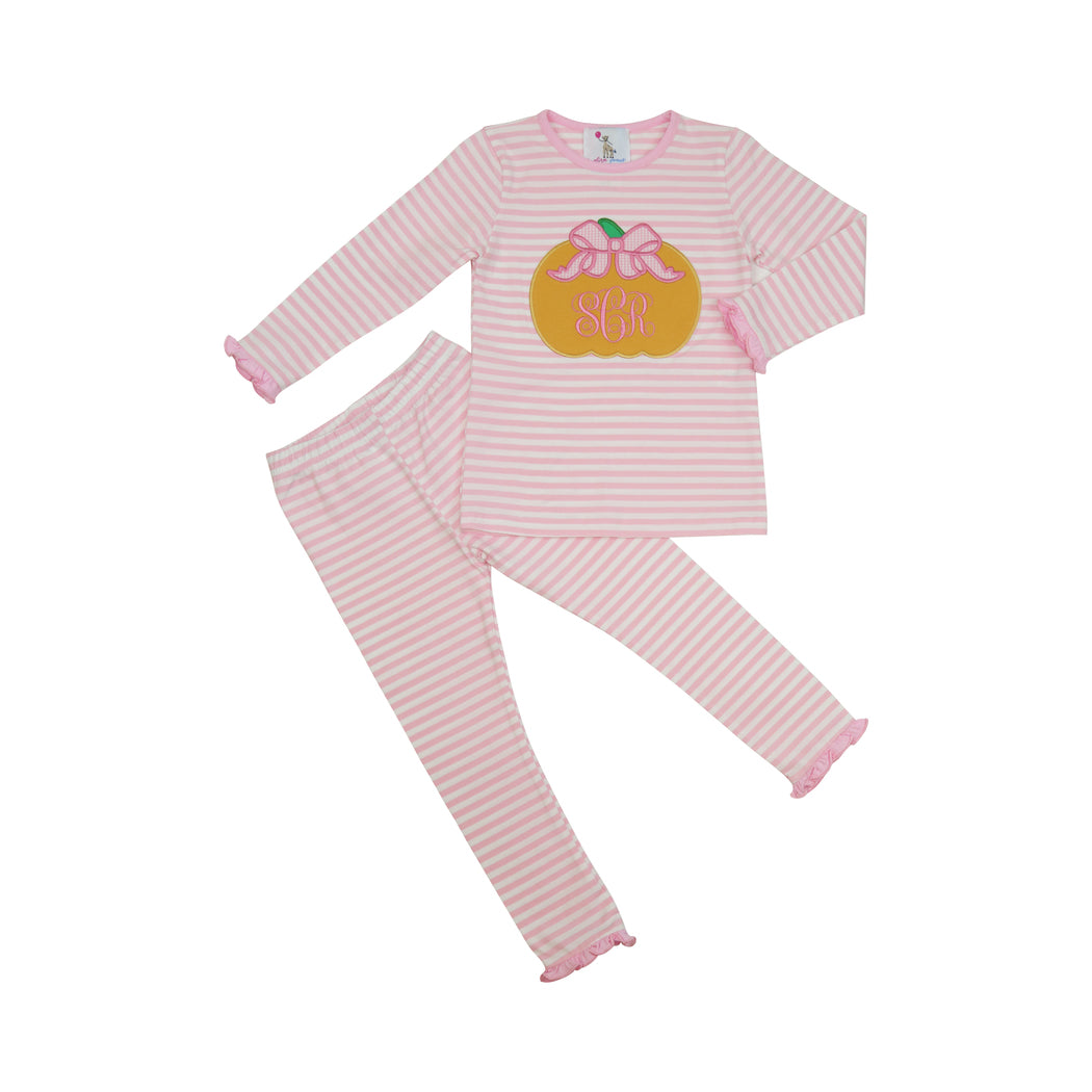 Pink Stripe Applique Pumpkin Pajamas