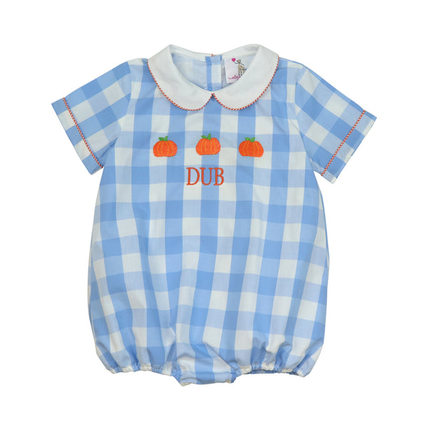 Blue Check Embroidered Pumpkins Boy Bubble