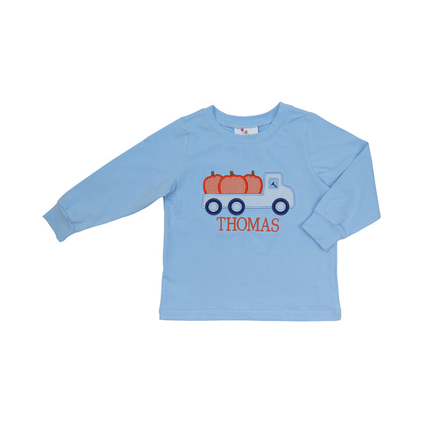 Blue Knit Pumpkin Truck Shirt