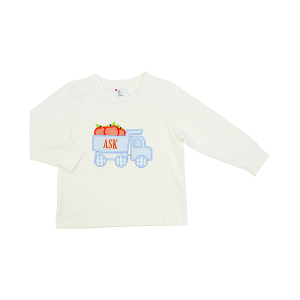 White Knit Pumpkin Dump Truck Shirt