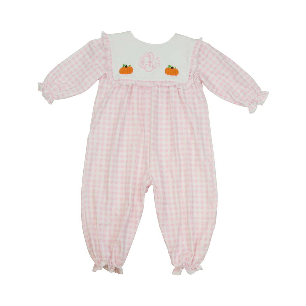 Pink Check Knit Embroidered Pumpkin Long Bubble