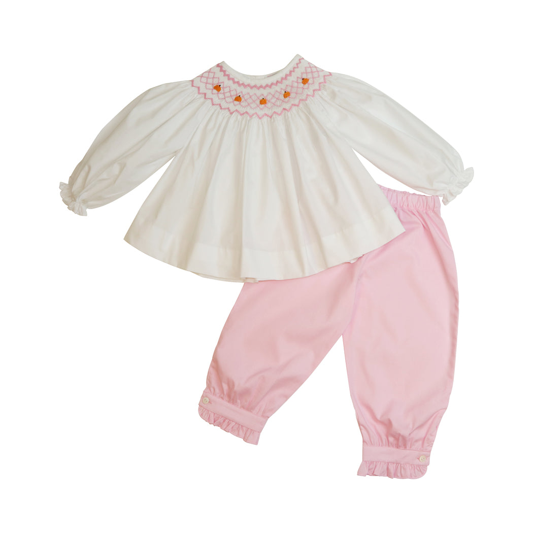 Pink Smocked Mini Pumpkins Pant Set