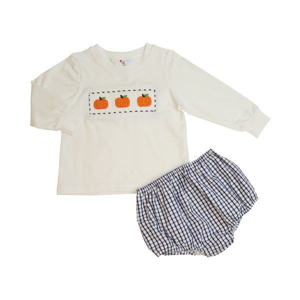 Navy Windowpane Smocked Pumpkin Boy Diaper Set