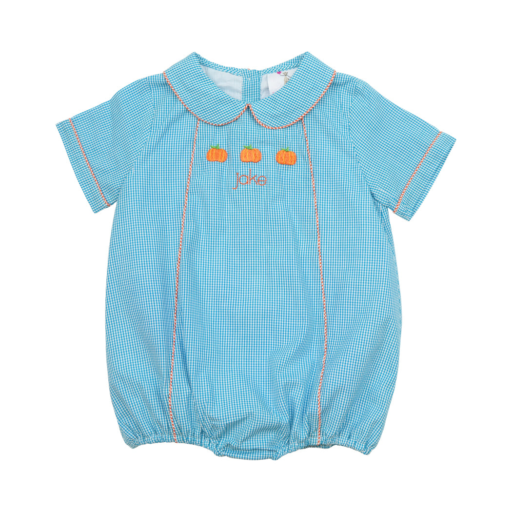 Turquoise Gingham Embroidered Pumpkin Boy Bubble