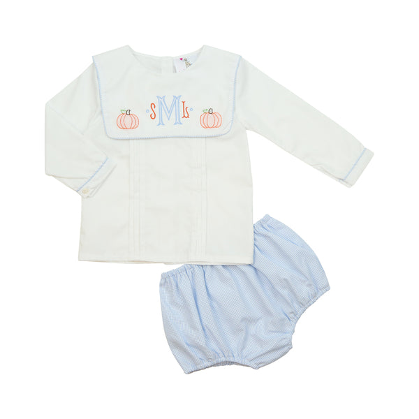 Blue Gingham Square Collar Pumpkin Diaper Set