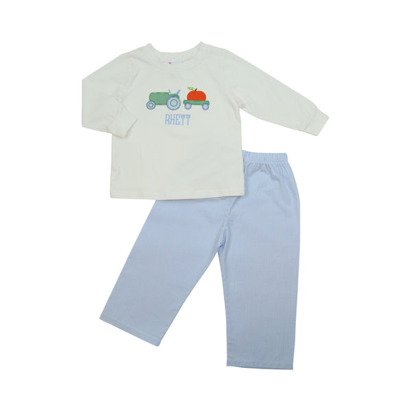 Blue Gingham Pumpkin Tractor Pant Set
