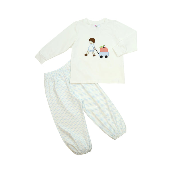 Blue Dot Boy with Pumpkin Wagon Pant Set
