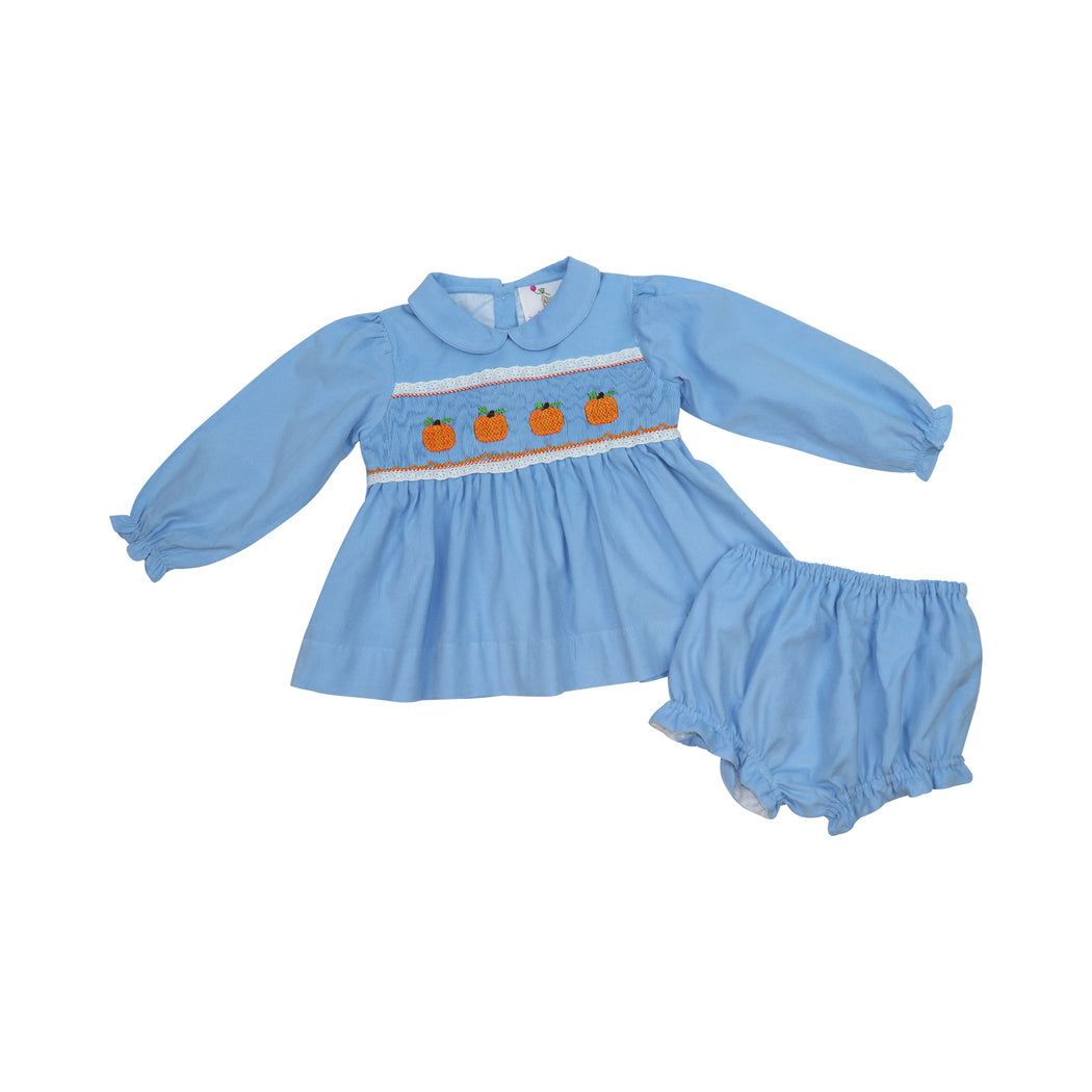 Blue Cord Smocked Pumpkins Diaper Set