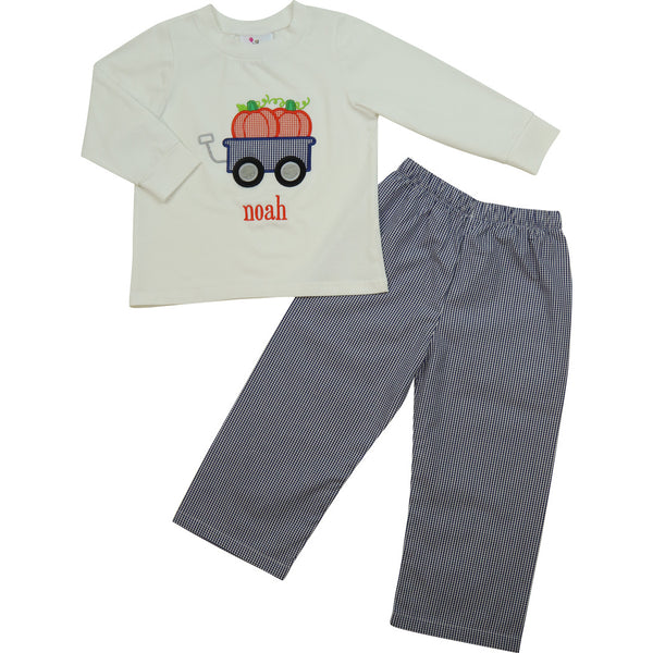 Navy Gingham Pumpkin Wagon Pant Set