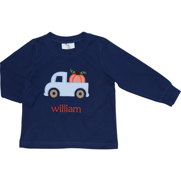 Navy Knit Pumpkin Truck Shirt