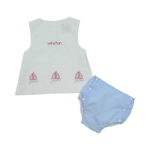 White Shadow Embroidered Sailboat Diaper Set