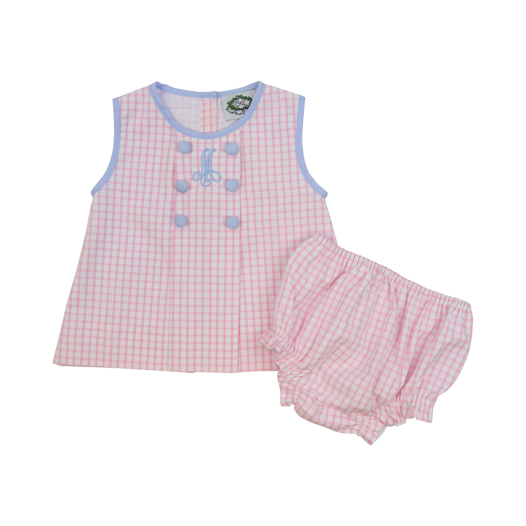 Pink Windowpane Double Breasted Diaper Set