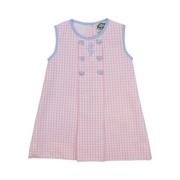 Pink Windowpane Double Breasted Dress