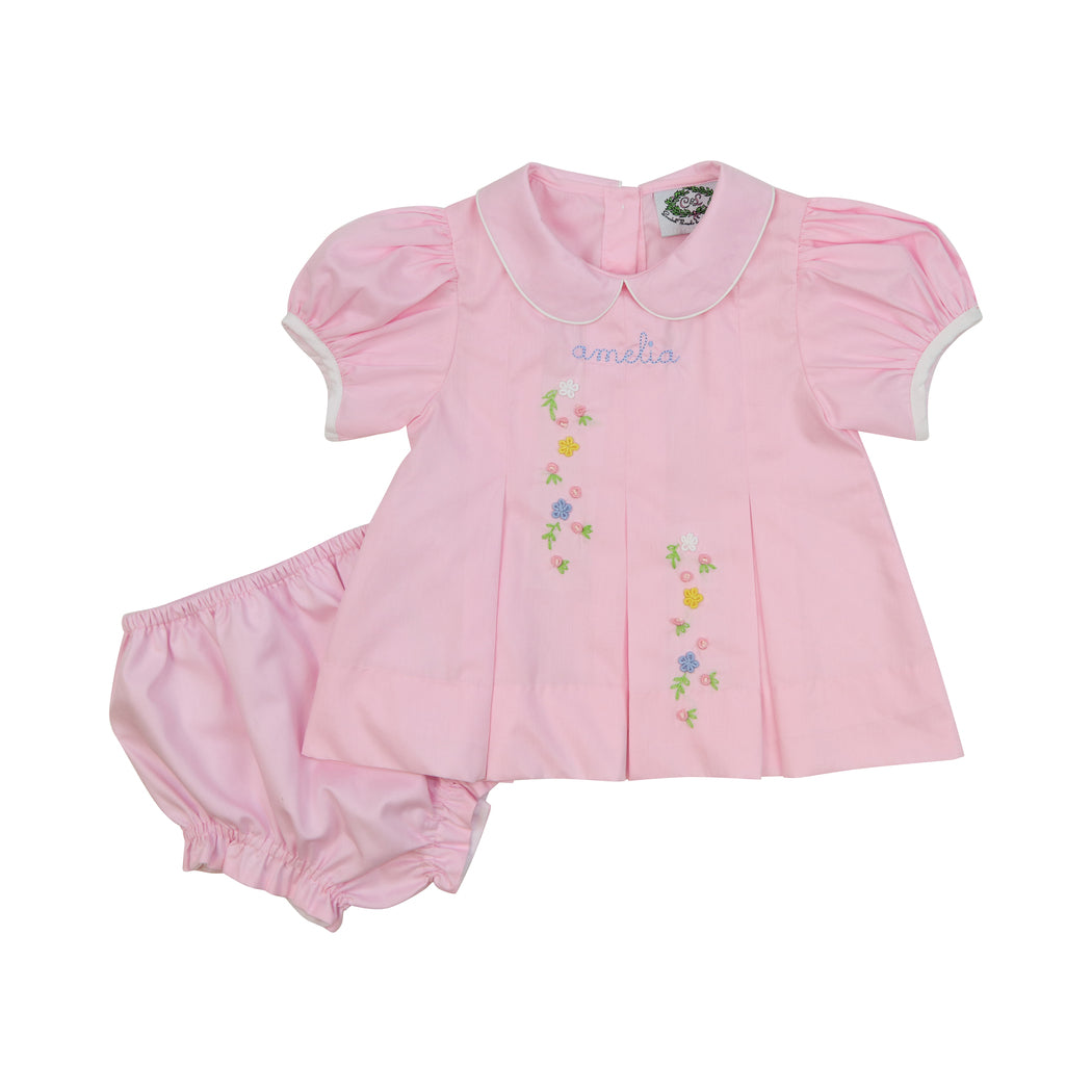 Pink Floral Embroidered Diaper Set