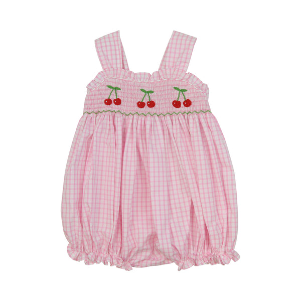 Pink Windowpane Smocked Cherry Bubble