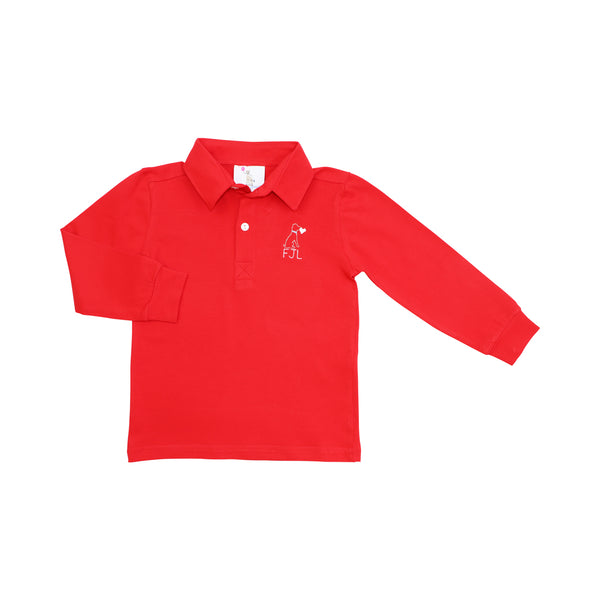 Red Knit Long Sleeve Polo Shirt
