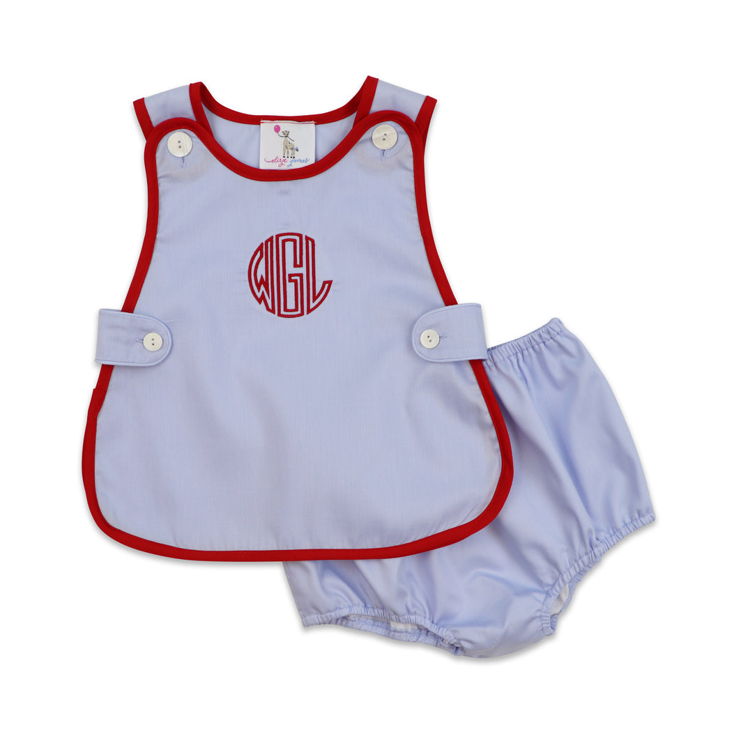Blue and Red Pique Diaper Set