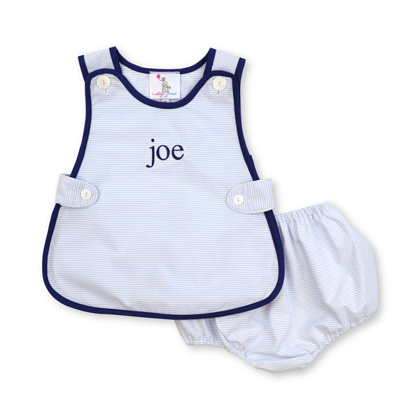 Blue Mini Stripe Diaper Set