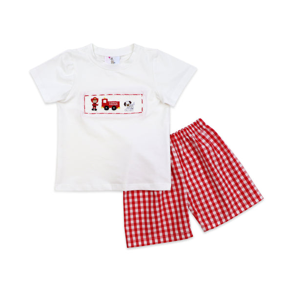Red Check Smocked Fire Station Short Set