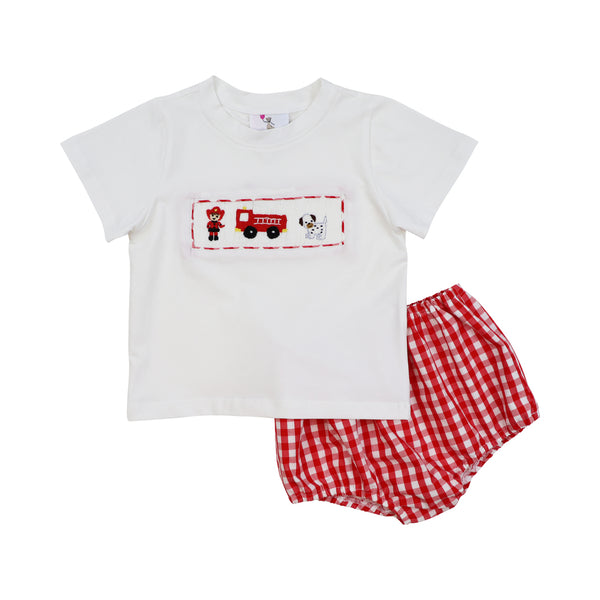 Red Check Smocked Fire Station Diaper Set