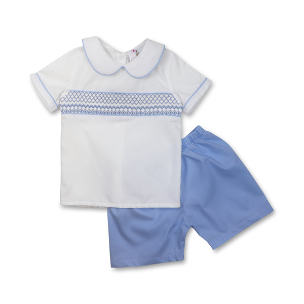 Blue Geometric Smocked Short Set