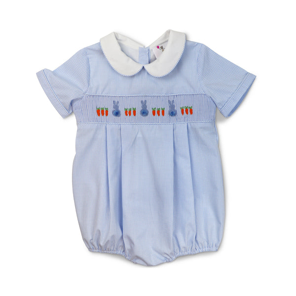 Blue Mini Stripe Smocked Bunny Bubble