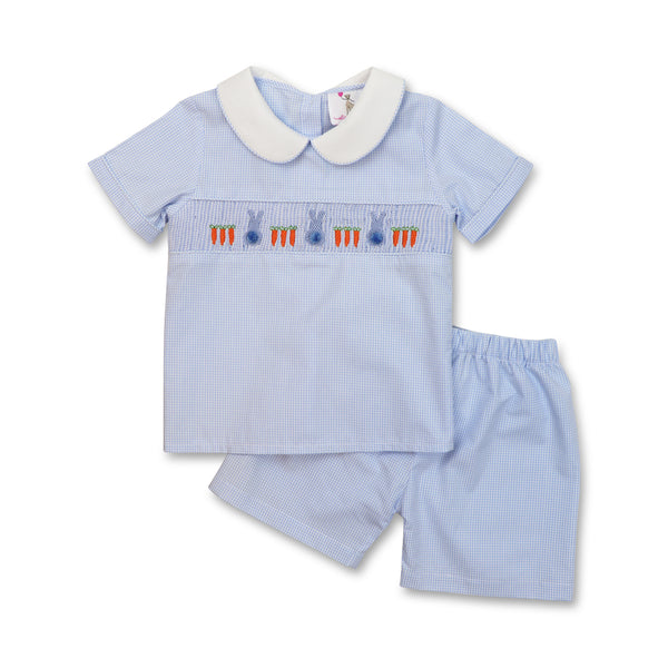 Blue Mini Stripe Smocked Bunny Short Set