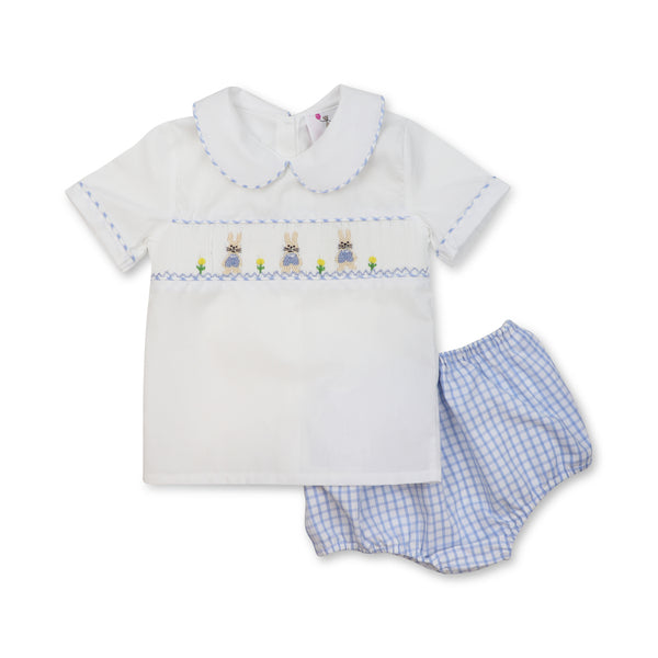 Blue Windowpane Smocked Bunny Diaper Set