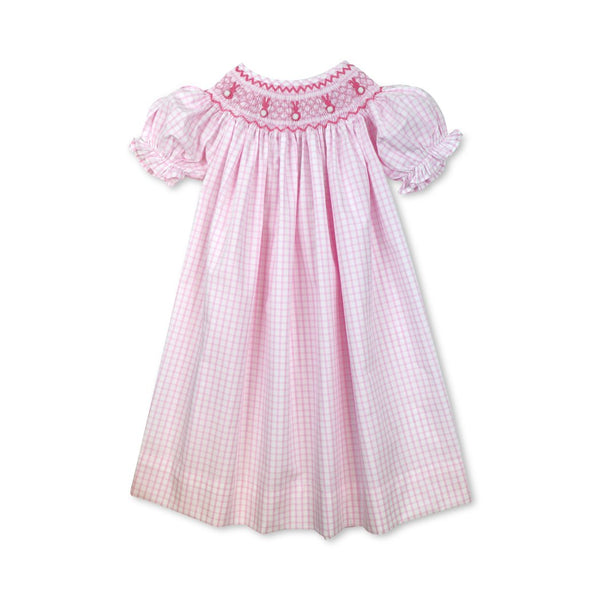 Pink Windowpane Smocked Bunny Bishop Dress