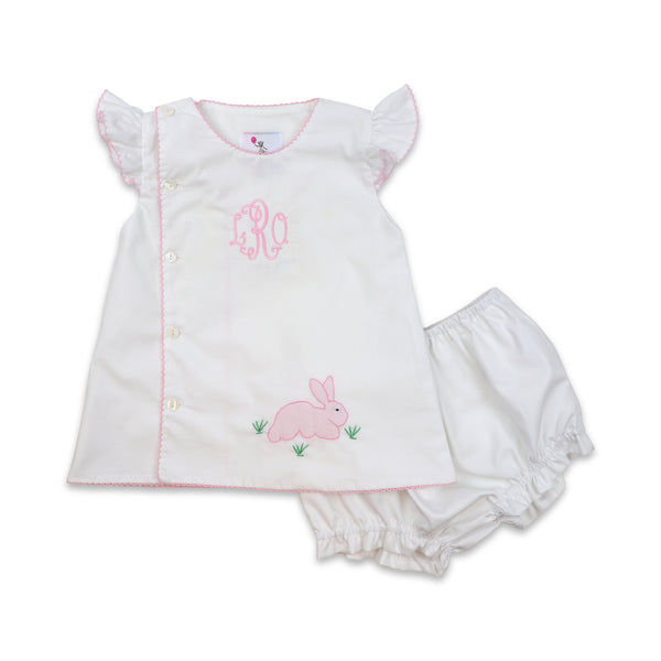 White Shadow Embroidered Bunny Diaper Set